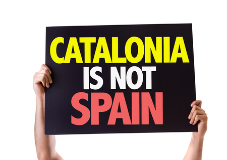 seperation: Hands holding blackboard with Catalonia Is Not Spain on white background Stock Photo