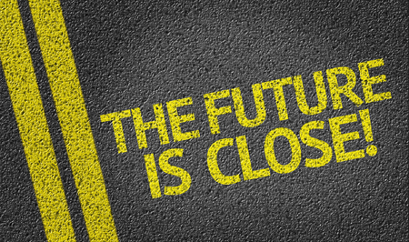 The Future Is Close on tar road Stock Photo