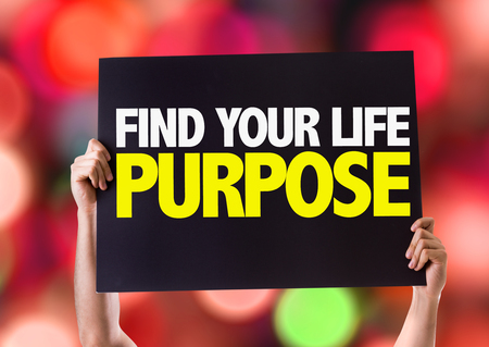 purposeful: Hands holding blackboard with Find Your Life Purpose on bokeh background