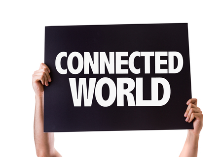 connected world: Hands holding card with Connected World on white background Stock Photo