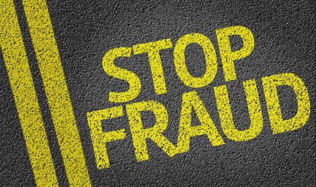 scamming: Stop Fraud on tar road Stock Photo