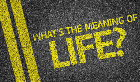 meaning: Whats The Meaning of Life on tar road Stock Photo
