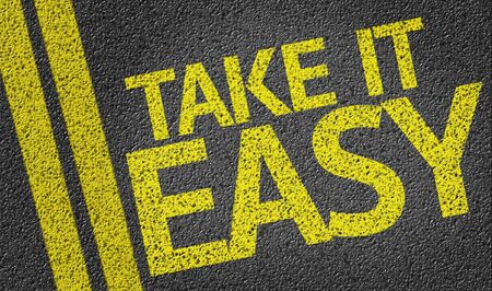 take it easy: Take It Easy on tar road Stock Photo