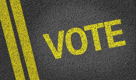 road surface: Vote text on road surface