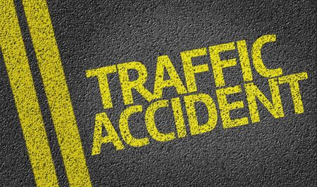 road surface: Traffic accident text on road surface Stock Photo