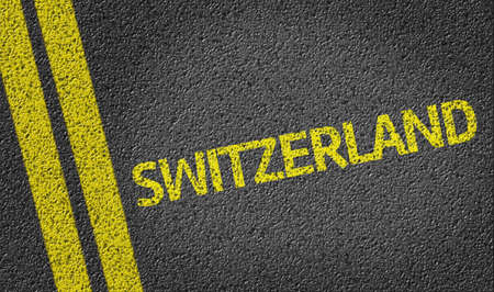 road surface: Switzerland text on road surface Stock Photo