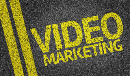 road surface: Video marketing text on road surface Stock Photo