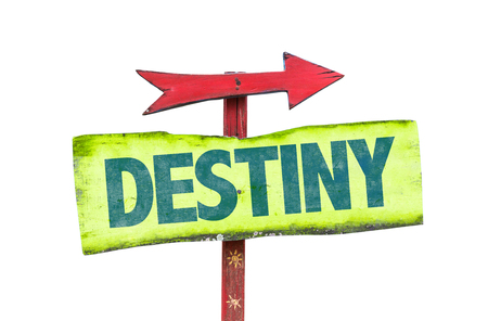 destiny: Signpost with the text Destiny on white background Stock Photo