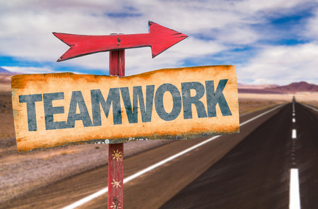 common goal: Signpost with the text Teamwork on road background