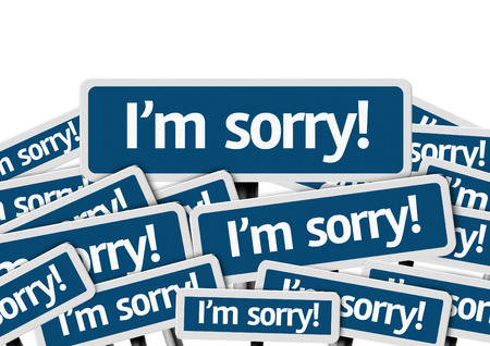 pardon: Im sorry written on multiple road signs Stock Photo