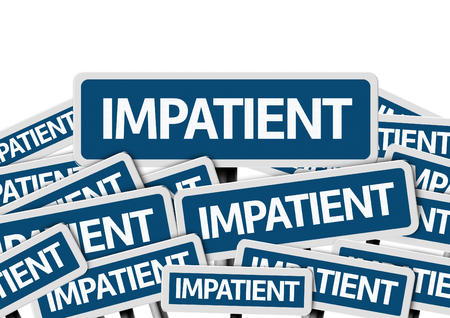 snappy: Impatient written on multiple road signs Stock Photo