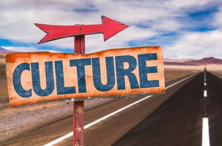 educative: Signpost with the text Culture on road background Stock Photo