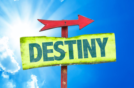 unpredictable: Signpost with text Destiny on sky background Stock Photo