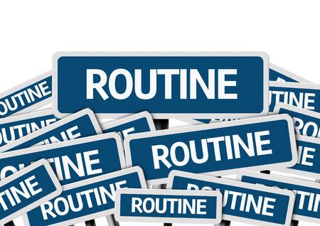 regimen: Routine written on multiple road signs Stock Photo