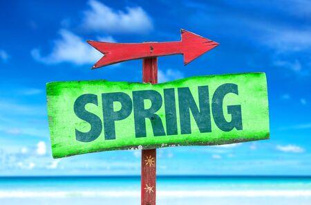 springbreak: Spring sign with arrow on beach background