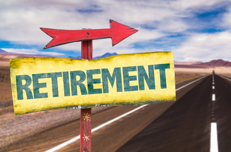 terminate: Retirement sign with arrow on highway background