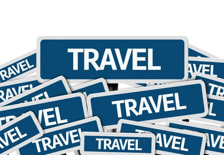 multiple: Multiple signboards with text: Travel Stock Photo