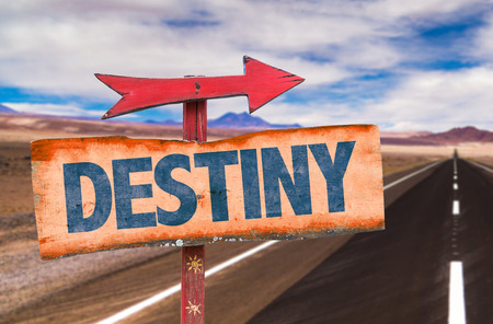 unpredictable: Destiny sign with arrow on a highway background