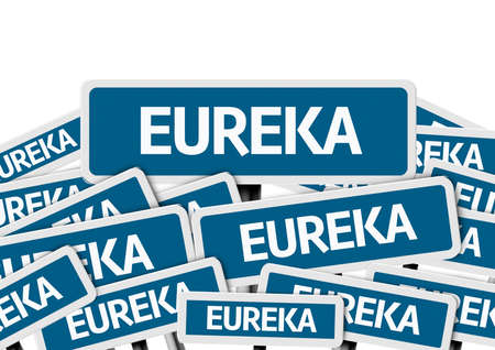multiple: Multiple signboards with text: Eureka