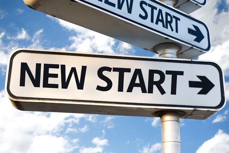 new start: New Start sign with clouds and sky background