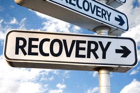 recovery: Recovery sign with clouds and sky background