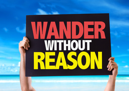 reason: Hands holding blackboard with Wander Without Reason on beach background