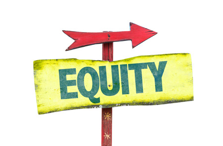 justness: Equity sign with arrow on a white background