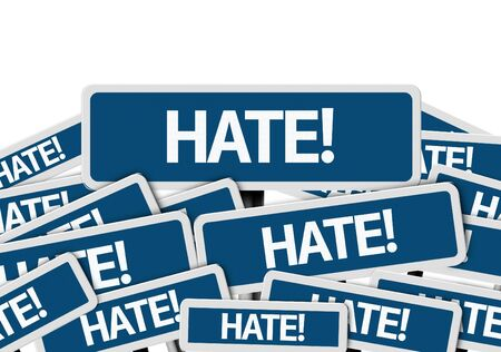 multiple: Multiple signboards with text: Hate Stock Photo