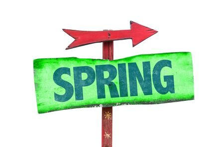 springbreak: Spring sign with arrow on white background