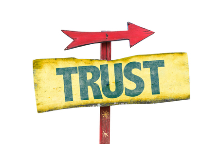self assurance: Trust sign with arrow on white background