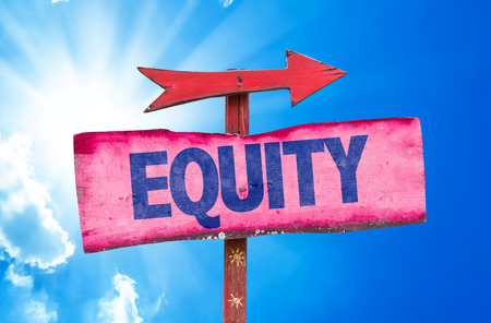 impartial: Equity sign with arrow on sunny background Stock Photo