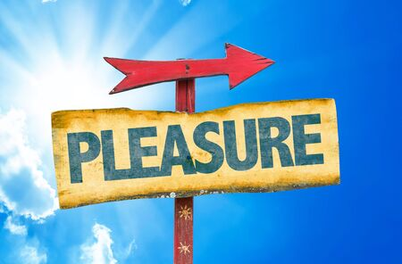 contentment: Pleasure sign with arrow on sunny background