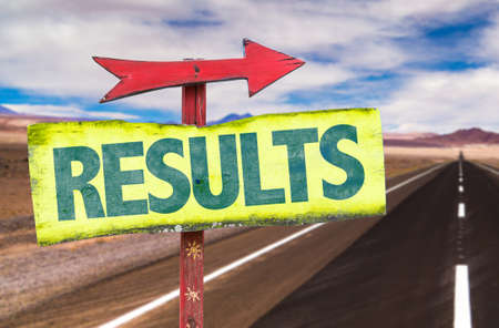 consequence: Results sign with arrow on a highway background Stock Photo