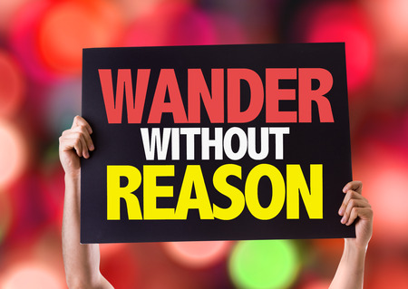 reason: Hands holding blackboard with Wander Without Reason on bokeh background Stock Photo