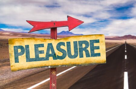 gratification: Pleasure sign with arrow on a highway background Stock Photo