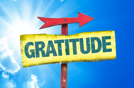 thankfulness: Gratitude sign with arrow on sunny background Stock Photo