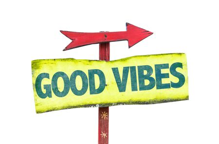 vibes: Good Vibes sign with arrow on white background Stock Photo