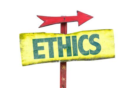 valores morales: Ética de la muestra con la flecha en el fondo blanco