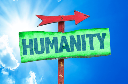 humanity: Humanity sign with arrow on sunny background Stock Photo