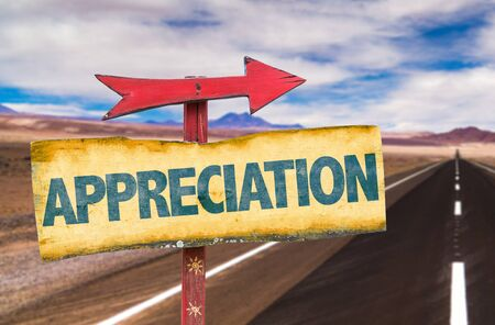 thankfulness: Appreciation sign with arrow on a highway background