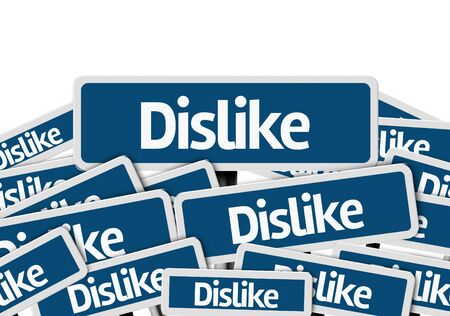 multiple: Multiple signboards with text: Dislike Stock Photo