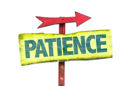 tolerate: Patience sign with arrow on white background Stock Photo