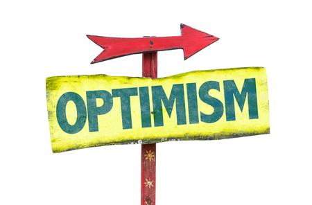 optimism: Optimism sign with arrow on white background Stock Photo