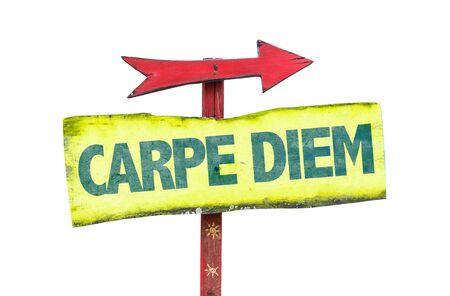 carpe diem: Carpe Diem sign with arrow on white background