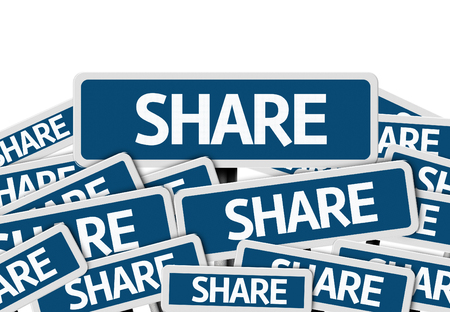 multiple: Multiple signboards with text: Share Stock Photo