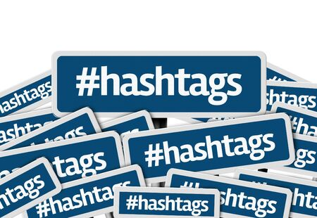 metadata: Multiple signboards with text: Hashtags Stock Photo