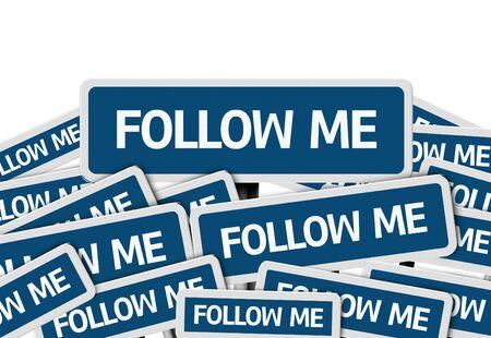 letreros: M�ltiples letreros con el texto: Follow Me Foto de archivo