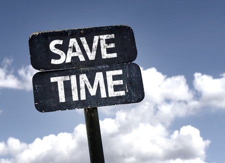 save time: Save Time sign with clouds and sky background Stock Photo