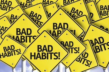 bad habits: Múltiples señales de tráfico con el texto: los malos hábitos Foto de archivo