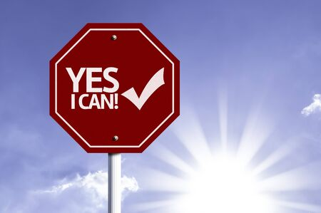 acknowledging: Yes I Can written on the road sign Stock Photo